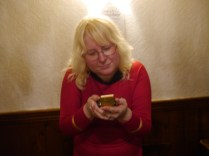 She was trying to understand what primative camera technology I held!