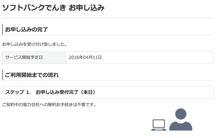 ソフトバンクでんき申込み完了
