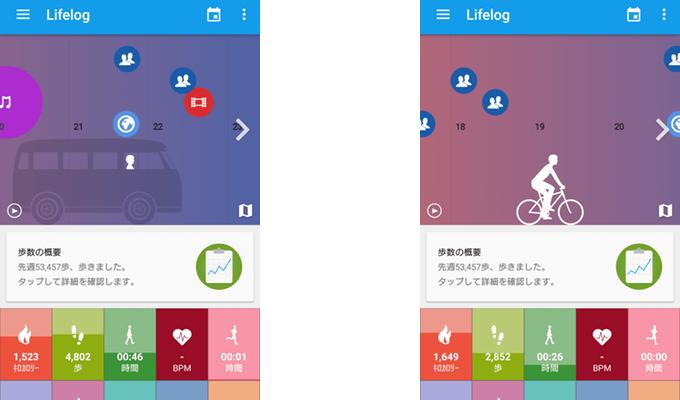 Lifelogアプリ画面