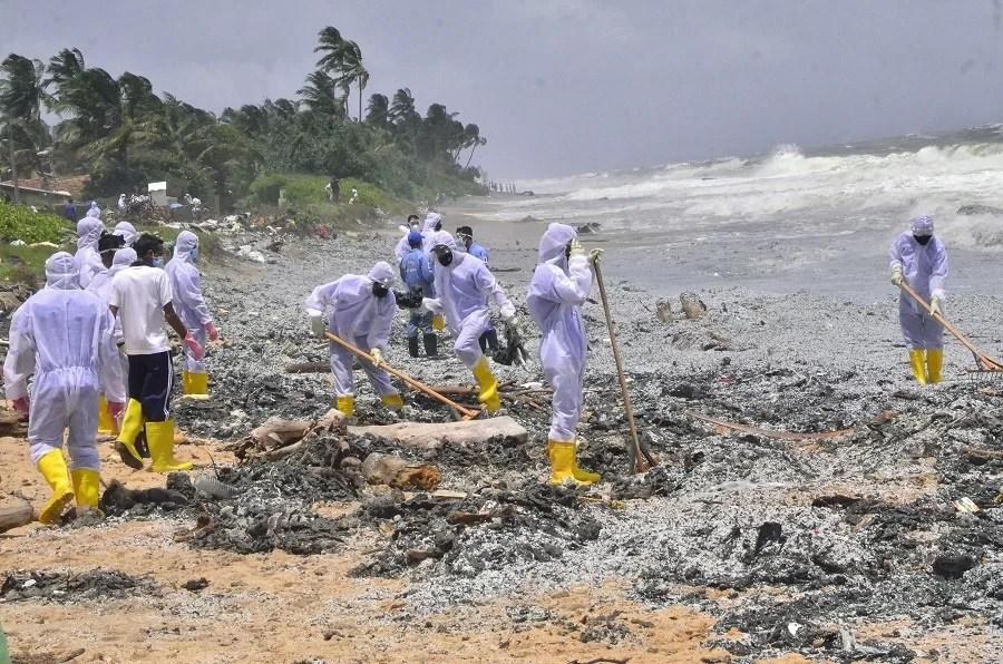 Sri Lanka braces for beach pollution as ship burns