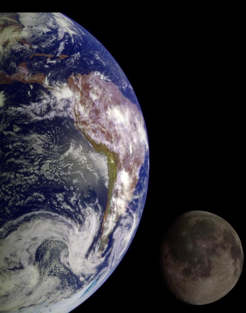 Erde und Mond. Credit: NASA/JPL/USGS