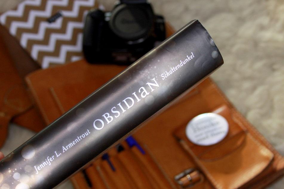 Der Buchrücken des Buches mit dem Schriftzug Obsidian - Schattendunkel. Foto: Lilli/geek's Antiques
