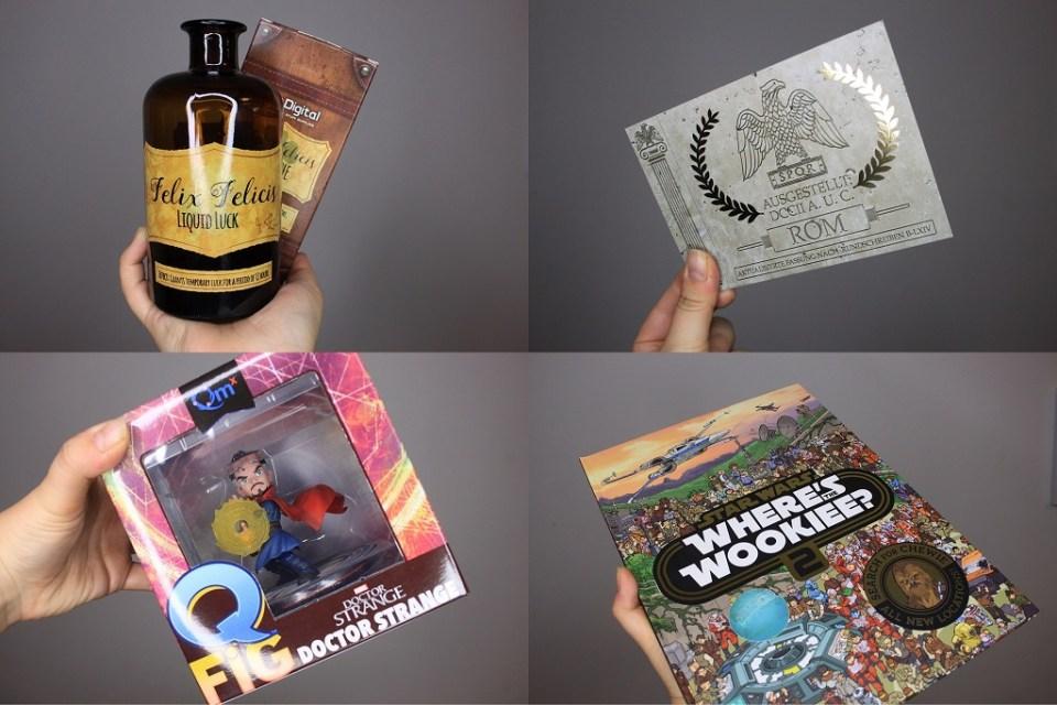 Felix Felicis Apothekerflasche, Passierschein A38, Dr Strange Q Fig und ein Star Wars Wookiee Wimmelbuch. Foto: Lilli/geek's Antiques