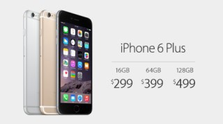 iPhone 6 Plus starts at $299 with a two-year contract.