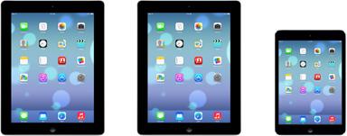 iPad 2,  iPad with Retina display and the  iPad mini