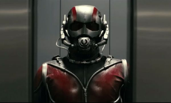 "Screen capture: A ""cybernetic helmet"" enables him to communicate and study ants. Pym also designed a protective costume for himself and steel mesh"