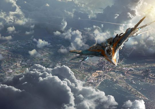 "The Milano, the Guardians' muscle car of a spacecraft, flies high over Xandar, the home of the Nova Corps, in ""Guardians of the Galaxy.""(Photo: Marvel Studios)"