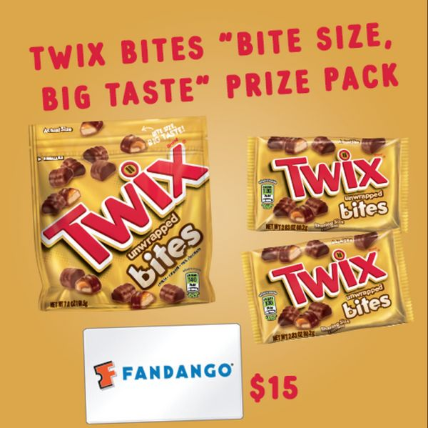 TWIX movie prize pack, including a $15 Fandango gift card.