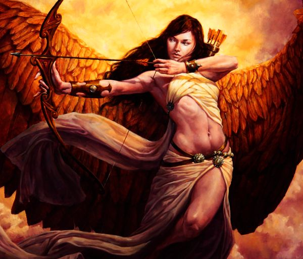Artemis is the huntress which carries a bow and arrow