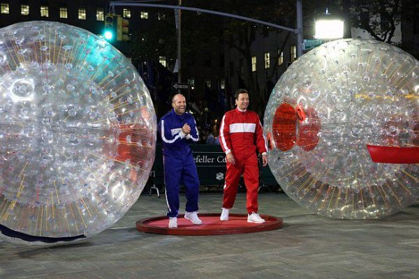 Jimmy Fallon and Jason Statham Face-Off in Hamster Ball Race