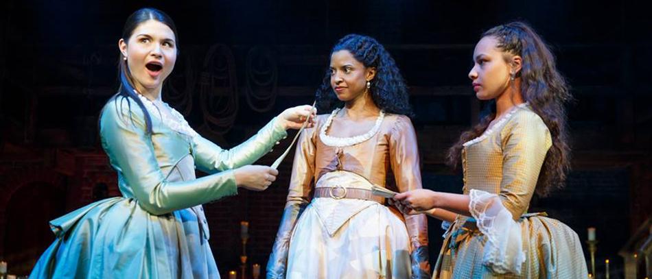 Philippa Soo, Renee Elise Goldsberry and Jasmine Cephas Jones in Hamilton