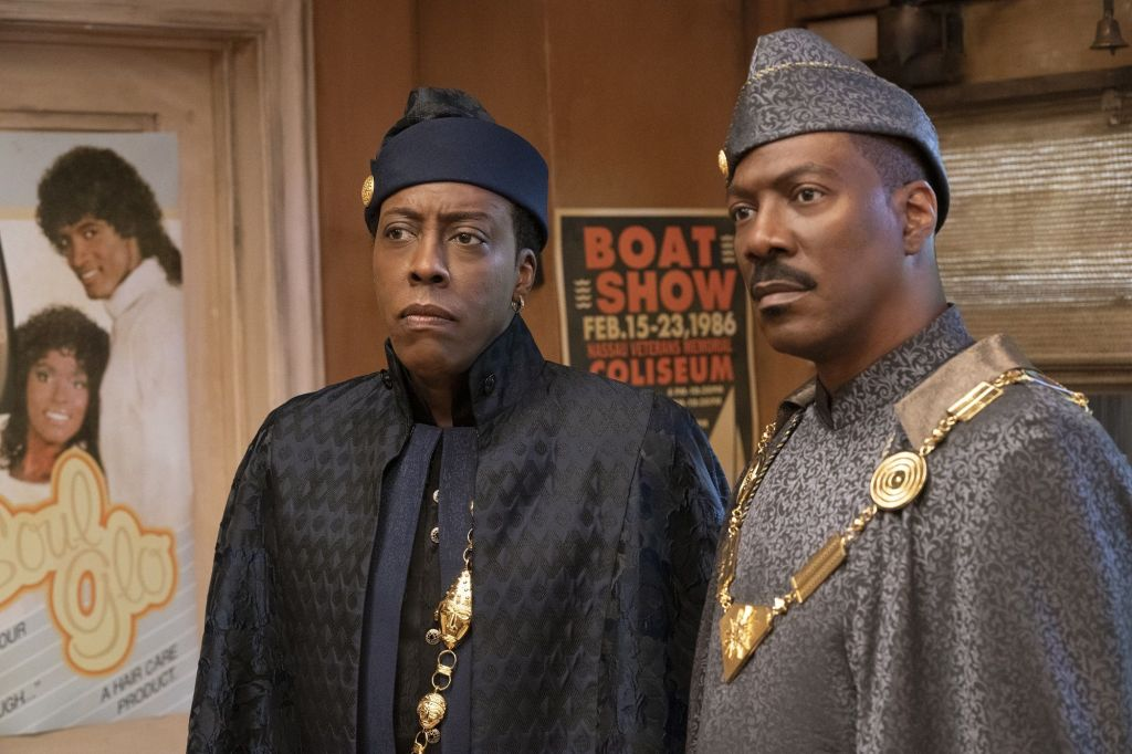 Arsenio Hall as Semmi and Eddie Murphy as Prince Akeem in Coming 2 America. (Courtesy of Amazon Prime Video)