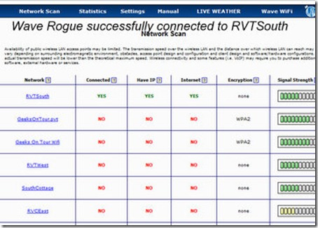 Wave Rogue successfully connected to RVTSouth