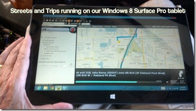 Streets and Trips running on our Windows 8 Surface Pro tablet