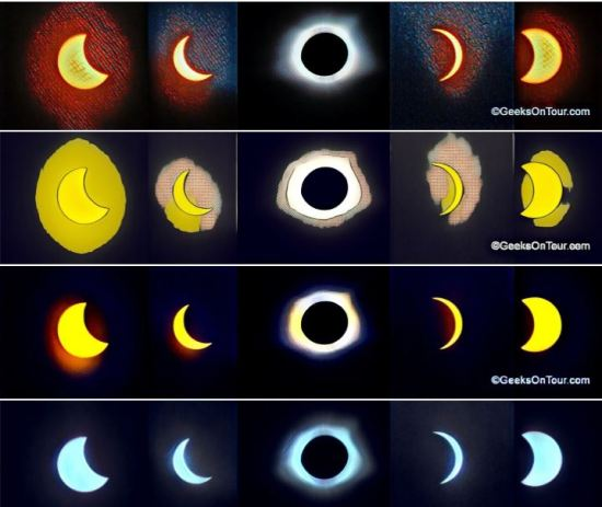 Eclipse collage made with Picasa, enhanced with Prisma