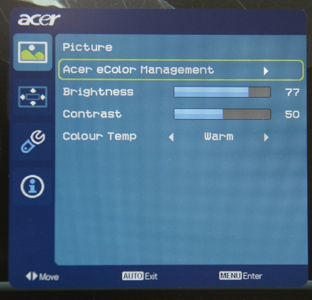 Acer H213H Setup Menu