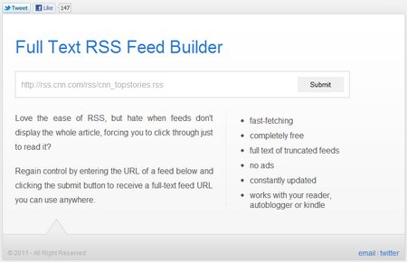 Full Text RSS Feed Builder, convertir feeds abreviadas en Feeds completas