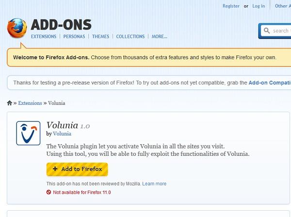 Plugin de Volunia en Firefox