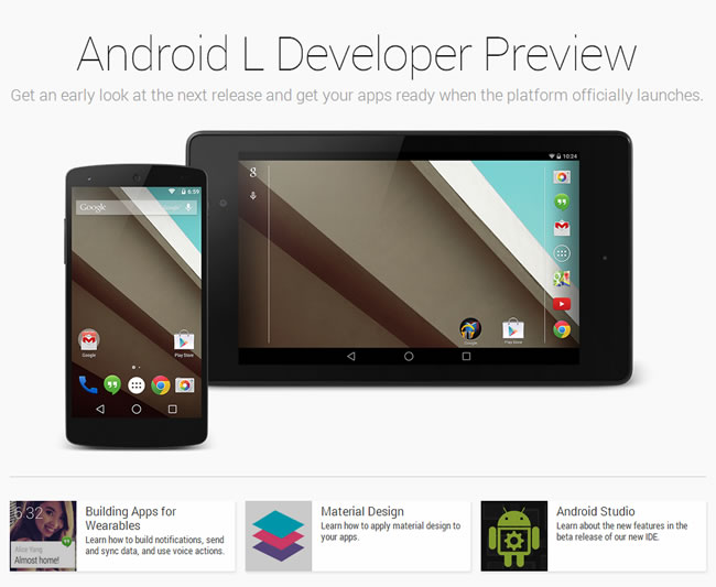 Enlace para probar y descargar Android L Developer Preview