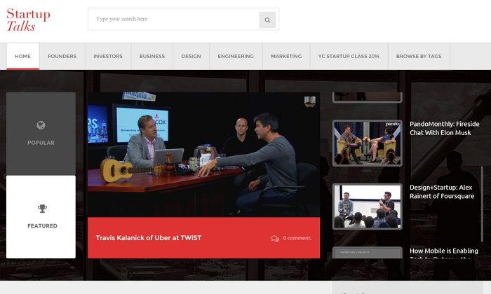Startup Talks, contiene una lista curada de vídeos y podcasts relacionados con startups