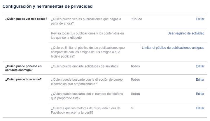 configuracion y herramientas de privacidad de Facebook