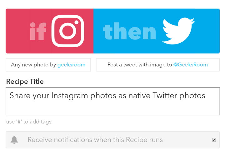 IFTTT - Instagram to Twitter