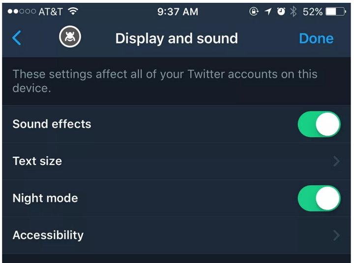 Twitter iOS Modo Nocturno