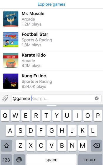 Telegram - Plataforma de Juegos 1.0 - Gamee