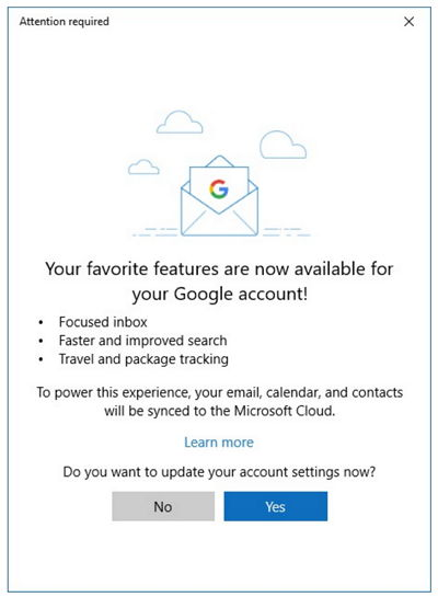 Windows 10 Mail - Calendario - Gmail