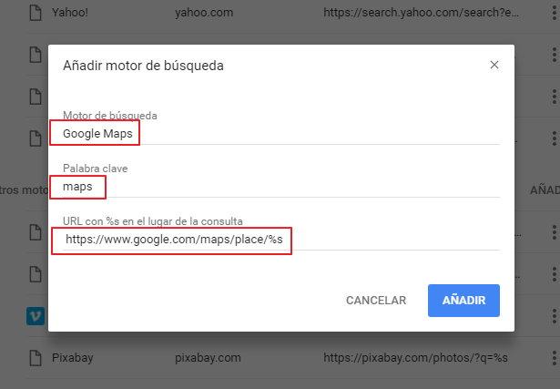 Buscador de Google Maps