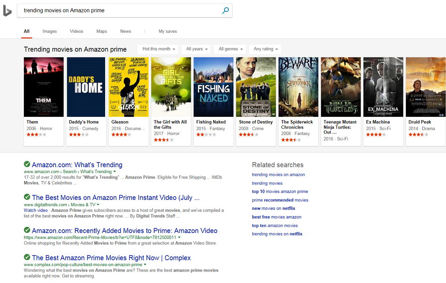 Bing - Trending Movies on Amazon Prime