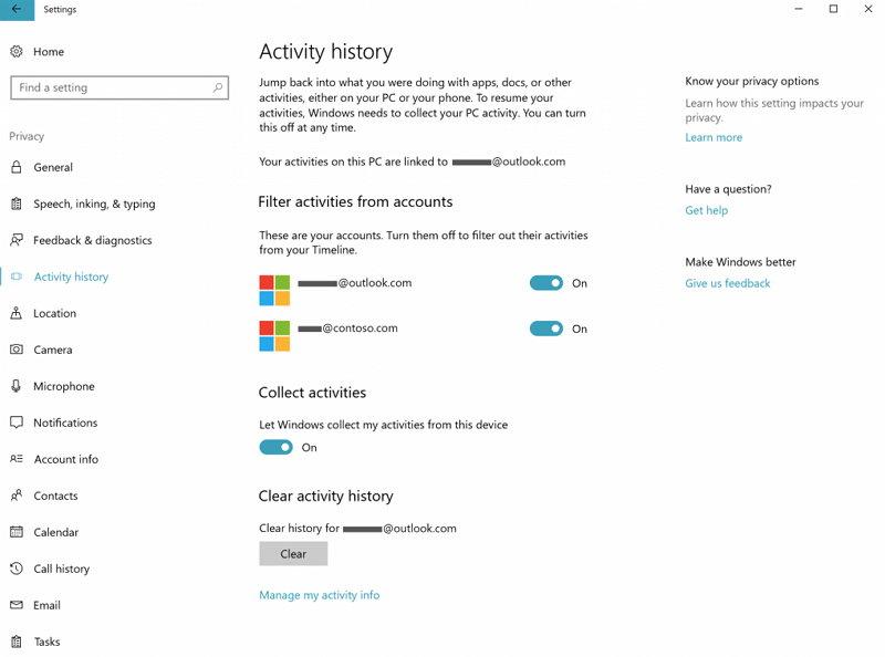 Windows 10 Insider Preview - Timeline - Configuración de Actividades
