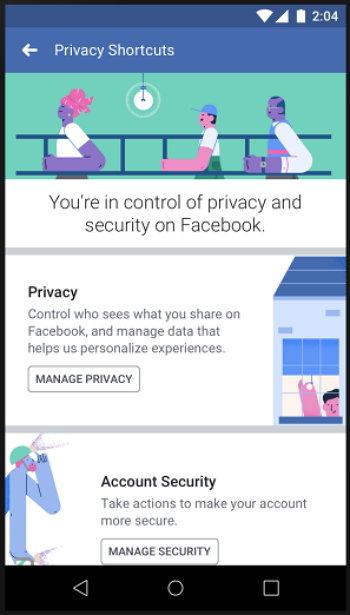 Facebook - Menú de Accesos Directos a los Controles de Privacidad
