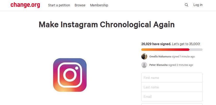 Instagram - Change.Org - Feed Cronológica