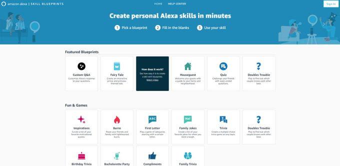 Amazon Alexa Skill Blueprints