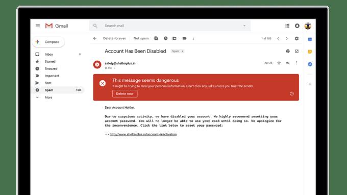 Gmail - Alertas de emails peligrosos