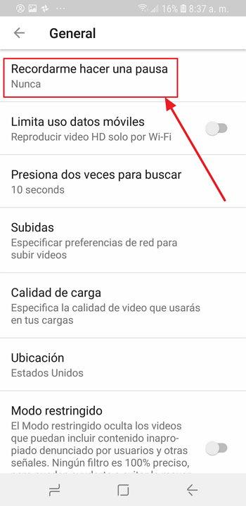 Youtube - Recordarme Hacer una Pausa