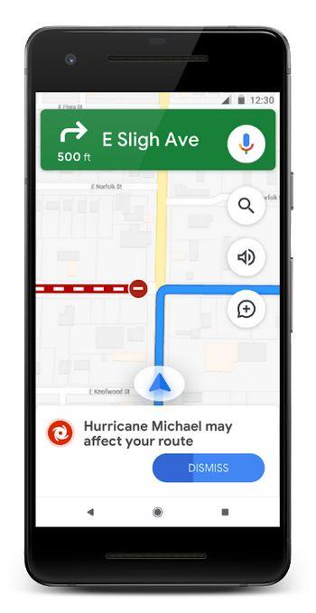 Google Maps - Alertas SOS - Ruta Huracanes