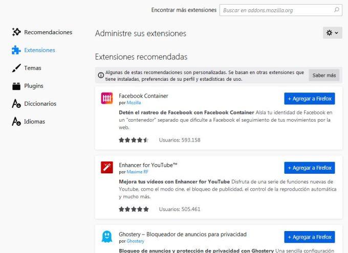 Mozilla Firefox - Extensiones Recomendadas