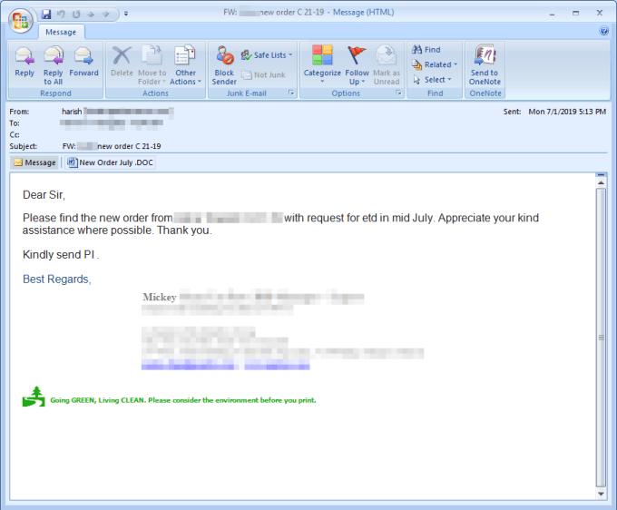 Email Phishing Lokibot