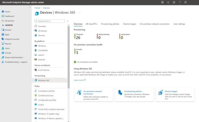Windows 365 - Windows Endpoint Manager Admin Center