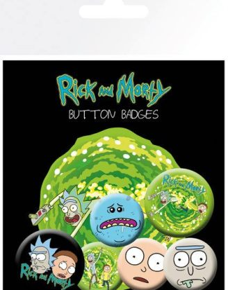 x_gye-bp0694 Rick and Morty Pin Badges 6-Pack Characters