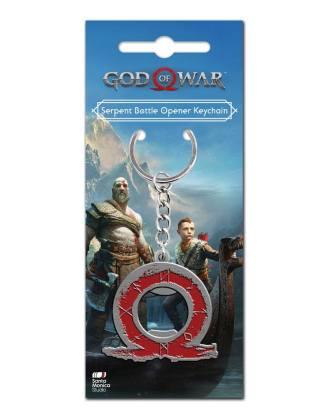 God of War kulcstartó sörnyitóval Serpent Logo