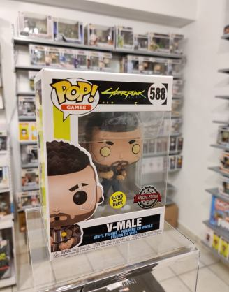 Cyberpunk 2077 Funko POP! Games Figura – V-Male Glow in The Dark (Exclusive)