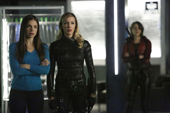 "Arrow -- ""Taken"" -- Image AR415b_0062.jpg -- Pictured (L-R): Anna Hopkins as Samantha, Katie Cassidy as Laurel Lance/Black Canary, and Willa Holland as Thea Queen / Speedy -- Photo: Bettina Strauss/ The CW -- © 2016 The CW Network, LLC. All Rights Reserved."