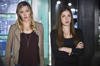 "Arrow -- ""Taken"" -- Image AR415b_0193b.jpg -- Pictured (L-R): Katie Cassidy as Laurel Lance/Black Canary and Anna Hopkins as Samantha -- Photo: Bettina Strauss/ The CW -- © 2016 The CW Network, LLC. All Rights Reserved."