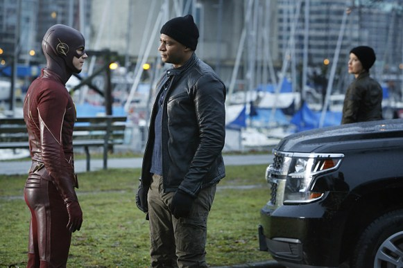 "The Flash -- ""King Shark"" -- Image FLA215b_0030 -- Pictured (L-R): Grant Gustin as Barry Allen / The Flash, David Ramsey as John Diggle, and Audrey Marie Anderson as Lyla -- Photo: Bettina Strauss/The CW -- © 2016 The CW Network, LLC. All rights reserved"