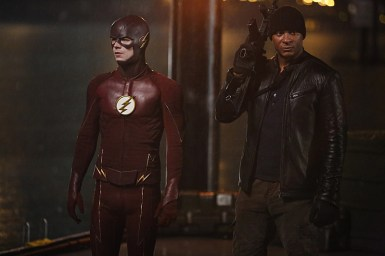 "The Flash -- ""King Shark"" -- Image FLA215b_0084 -- Pictured (L-R): Grant Gustin as Barry Allen / The Flash and David Ramsey as John Diggle -- Photo: Bettina Strauss/The CW -- © 2016 The CW Network, LLC. All rights reserved"