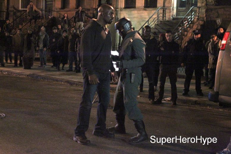 "NEW YORK, NY - MAY 23: Mike Colter, as Luke Cage ,Erik LaRay Harvey as ""Diamondback"" filming big fight scene in Marvel Studios ""Luke Cage"" on May 23, 2016 in New York City. (Photo by Steve Sands/GC Images)"