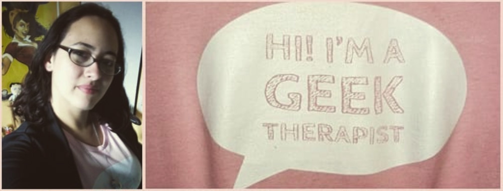 Diana occupational therapist wearing geek therapist shirt
